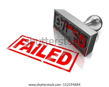 Stamp failed with red text on white - stock photo
