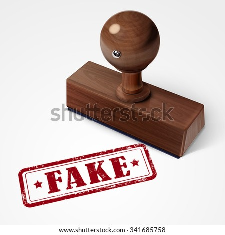 stamp fake in red over white background - stock photo