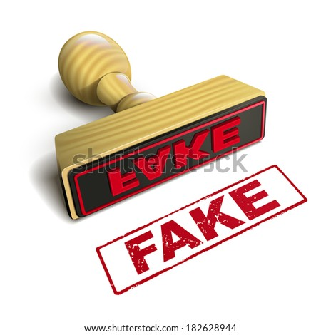 stamp fake with red text over white background - stock photo