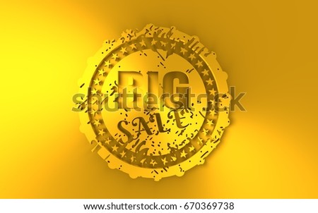 Stamp Icon Graphic Design Elements 3D Rendering Big Sale Text Golden Metallic