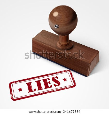 stamp lies in red over white background - stock photo