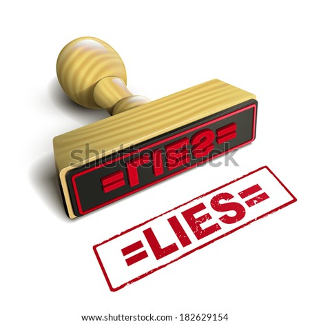 stamp lies with red text over white background - stock photo