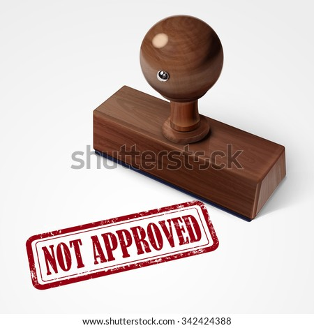 stamp not approved in red over white background - stock photo