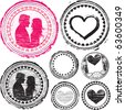 Stamp of Love. Love stamp set. - stock vector