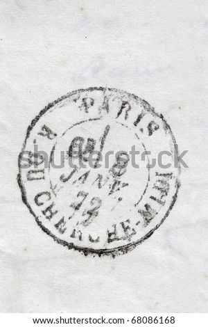 stamp Rue du Cherche Midi Paris isolated on vintage paper background - stock photo