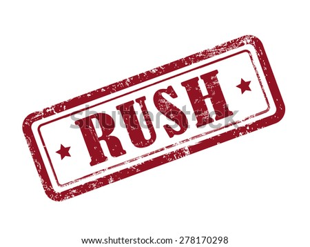 stamp rush in red over white background - stock photo