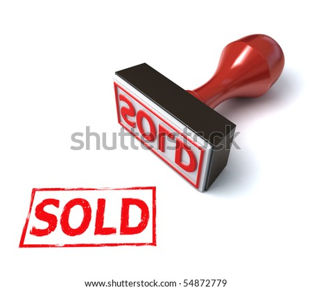 stamp sold - stock photo