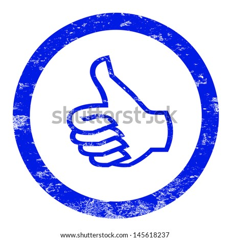 Stamp thumbs up, blue