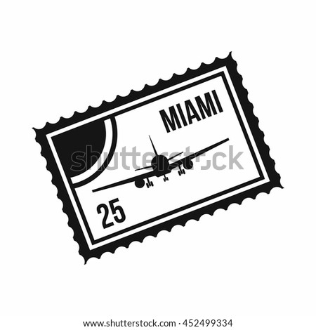 Stamp with plane and text Miami inside icon in simple style isolated on white background