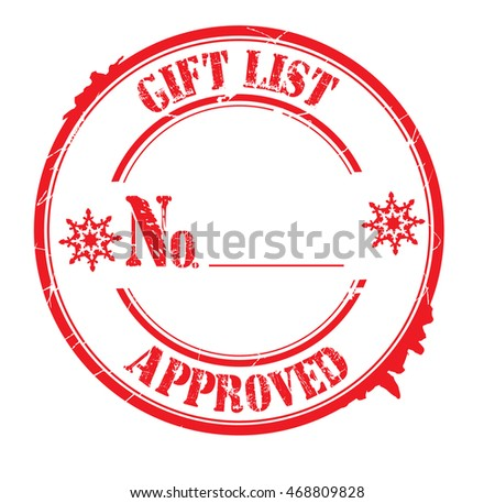 "stamp with text ""gift list approved"" isolated on white background. Bitmap"