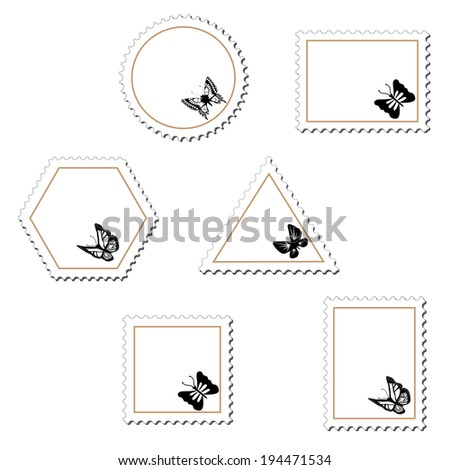stamps with butterfly - stock photo