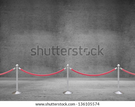 stanchions barrier on concrete room - stock photo