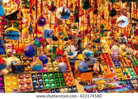 Stand at Christmas Market in Nuremberg, Germany - stock photo