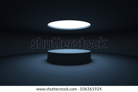 Stand by your object, standing in a dark room and illuminated by light from a round window in the ceiling. - stock photo