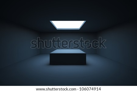 Stand by your object, standing in a dark room and illuminated by light from a window in the ceiling. - stock photo