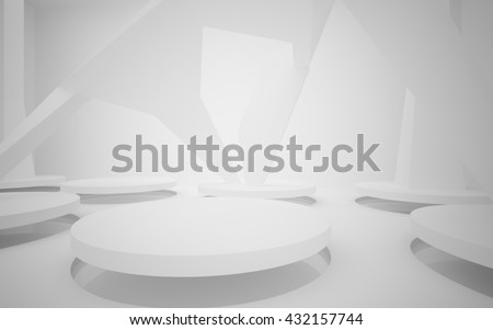 Stand by your object, standing in a white room and illuminated by light from a round window in the ceiling.3D illustration. 3D rendering