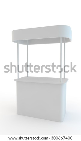 stand for display of advertizing production with a roof - stock photo