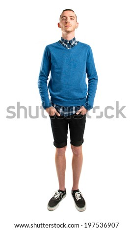 Stand front man over white background