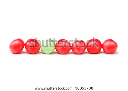 Stand out from crowd concept with jelly beans