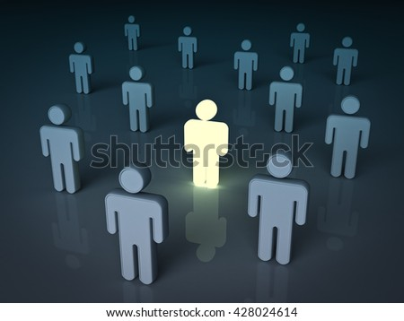 Stand out from the crowd and different concept , One light man standing with other dim people. 3D rendering.