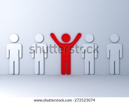 Stand out from the crowd and different concept , One red man standing with arms wide open with white other people