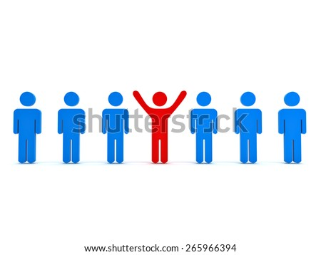 Stand out from the crowd and different concept , Red man standing with arms wide open with other blue people over white background - stock photo