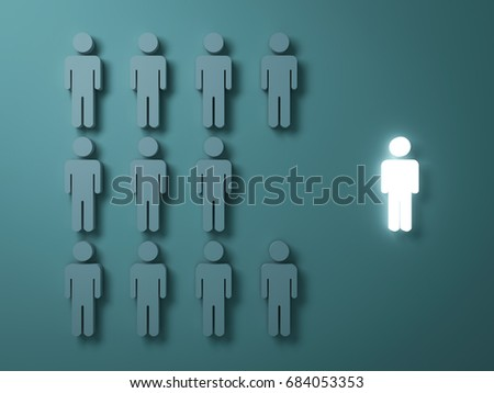 Stand out from the crowd and different creative idea concepts , One light man standing alone separate from group of grey people on dark green background , leadership concept . 3D rendering.