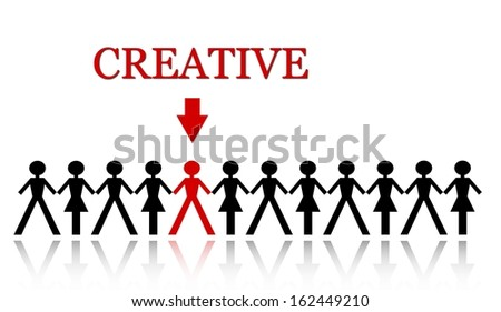 stand out from the crowd, be creative - stock photo