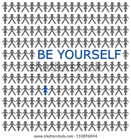 stand out from the crowd, be yourself - stock photo