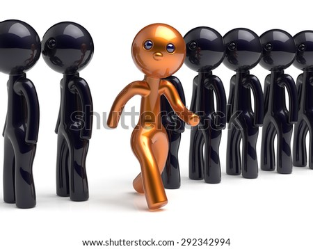 Stand out from the crowd character different individuality people unique man think differ person otherwise run to new opportunities concept human resources hr icon. 3d render isolated - stock photo