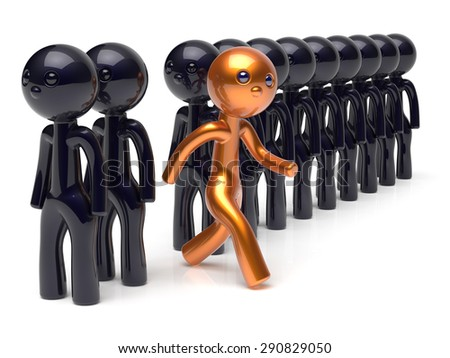 Stand out from the crowd different people individuality character unique man think differ person otherwise run to new opportunities concept human resources hr icon. 3d render isolated - stock photo