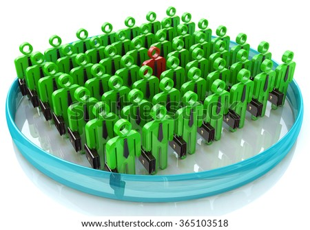 Stand Out From The Crowd - The concept of leadership in business in the design of information associated with the leader - stock photo