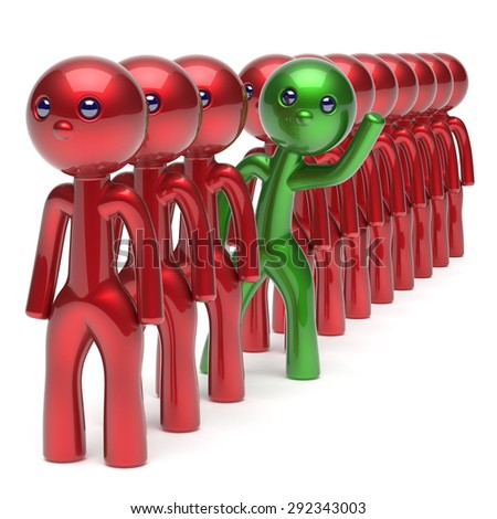Stand out from the red crowd different people character individuality unique green man think differ person otherwise welcome to new opportunities concept human resources hr icon. 3d render isolated