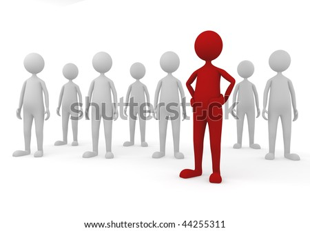 Stand out in team. 3D concept depicting successful leader in a team