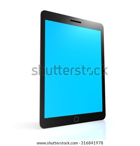 Stand tablet with blue screen image with hi-res rendered artwork that could be used for any graphic design. - stock photo
