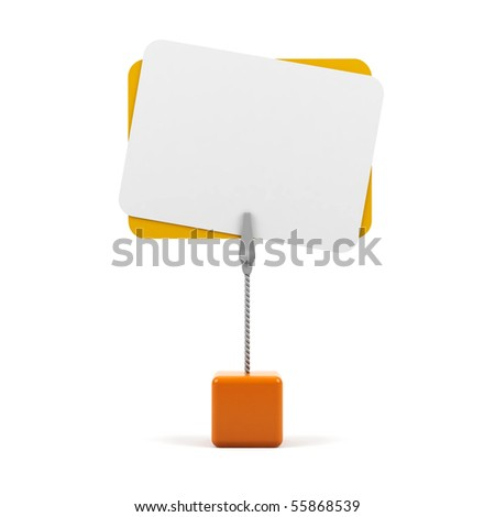 Stand with card on a white background. - stock photo