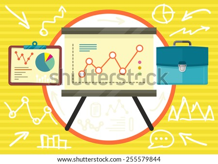 Stand with charts graphs and parameters. Business concept of analytics in flat design. Raster version - stock photo