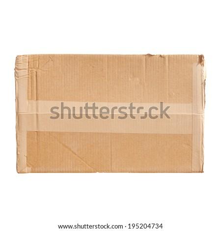 Standard cardboard box isolated on white background - stock photo