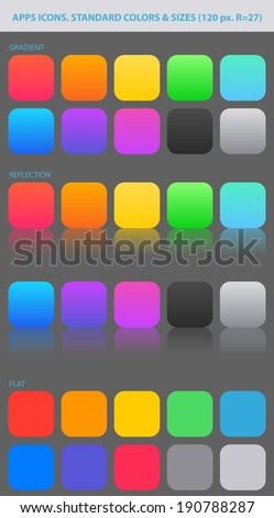 Standard colors and sizes for new icons. PALETTE of backgrounds.