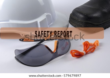 Standard construction safety equipment isolated on white with conceptual text