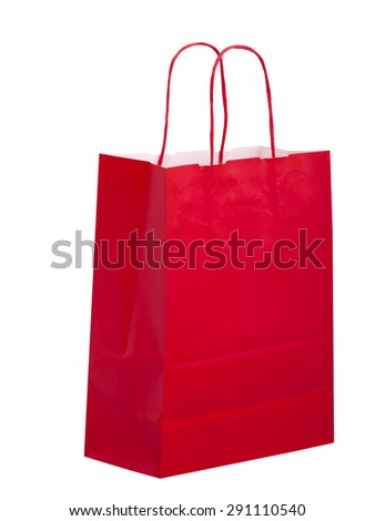Standard design plain red carrier bag isolated on white. - stock photo