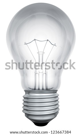 Standard light bulb template isolated on white background. - stock photo
