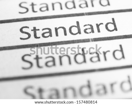 STANDARD printed on a form close up