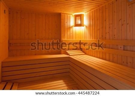 Standard wooden sauna interior - stock photo
