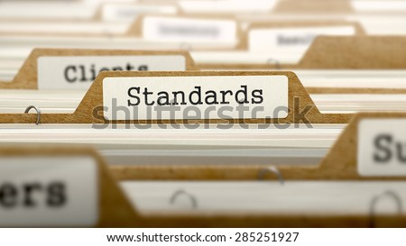 Standards Concept. Word on Folder Register of Card Index. Selective Focus.