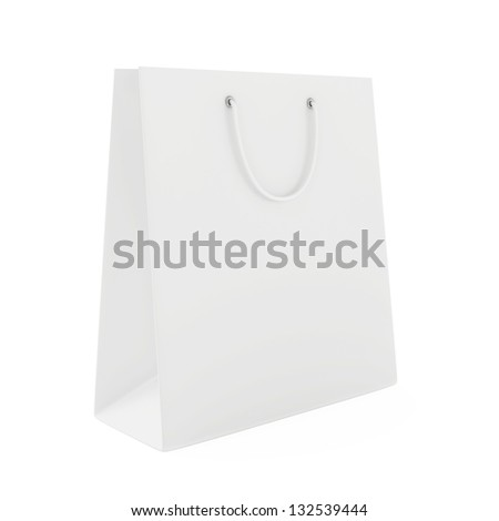 standing a blank white shopping bag - stock photo