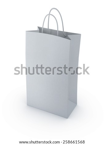 standing a blank white shopping bag 3d render isolate on white background - stock photo