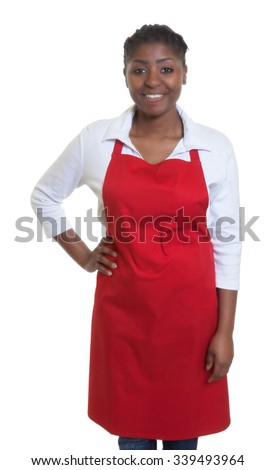 Standing african american waitress - stock photo