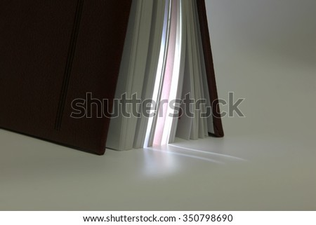 standing ajar at the end of the book with proceeds from her light