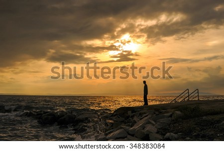 standing alone on the beach young, depression, holiday, - stock photo